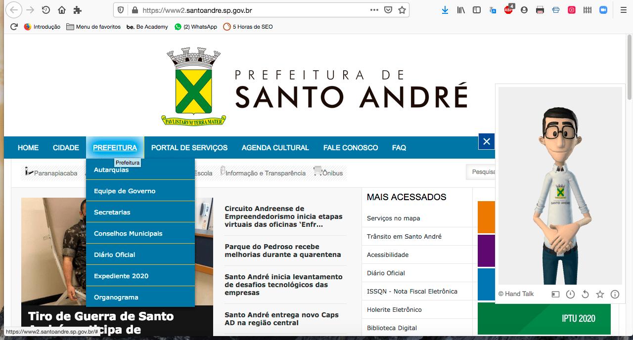 Site da Prefeitura de Santo André ganha ferramenta que traduz texto para Libras